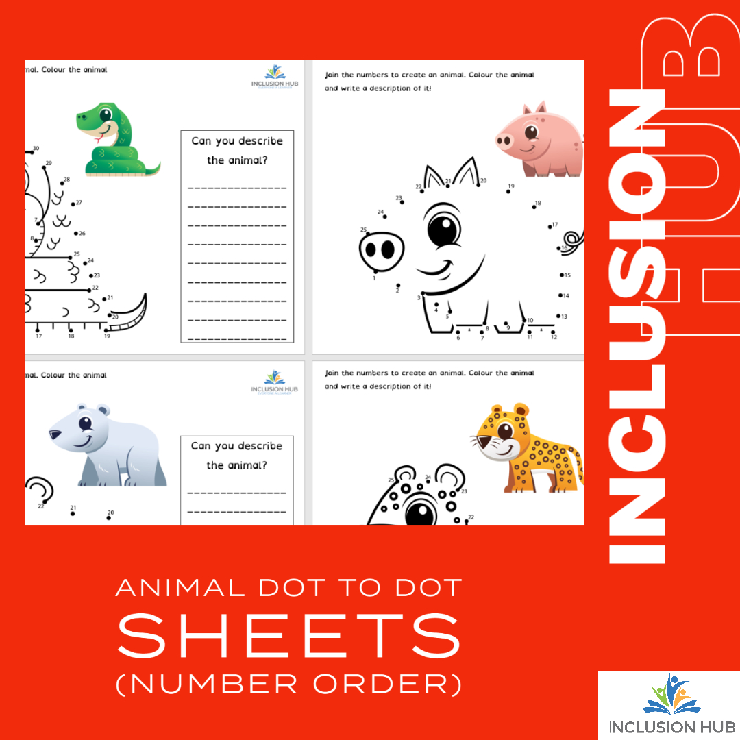 Animal Dot to Dot Sheets (number order)