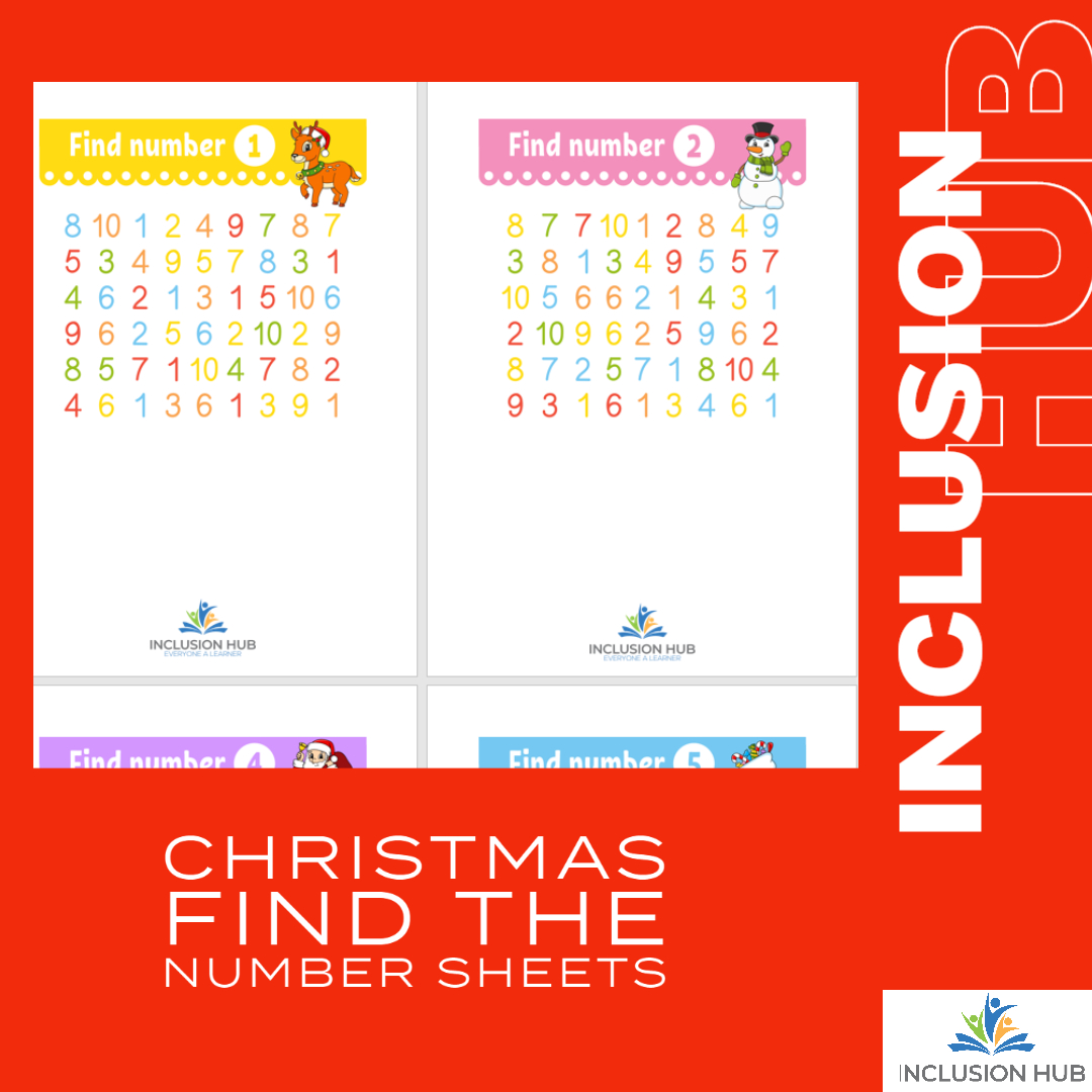 Christmas find the number sheets