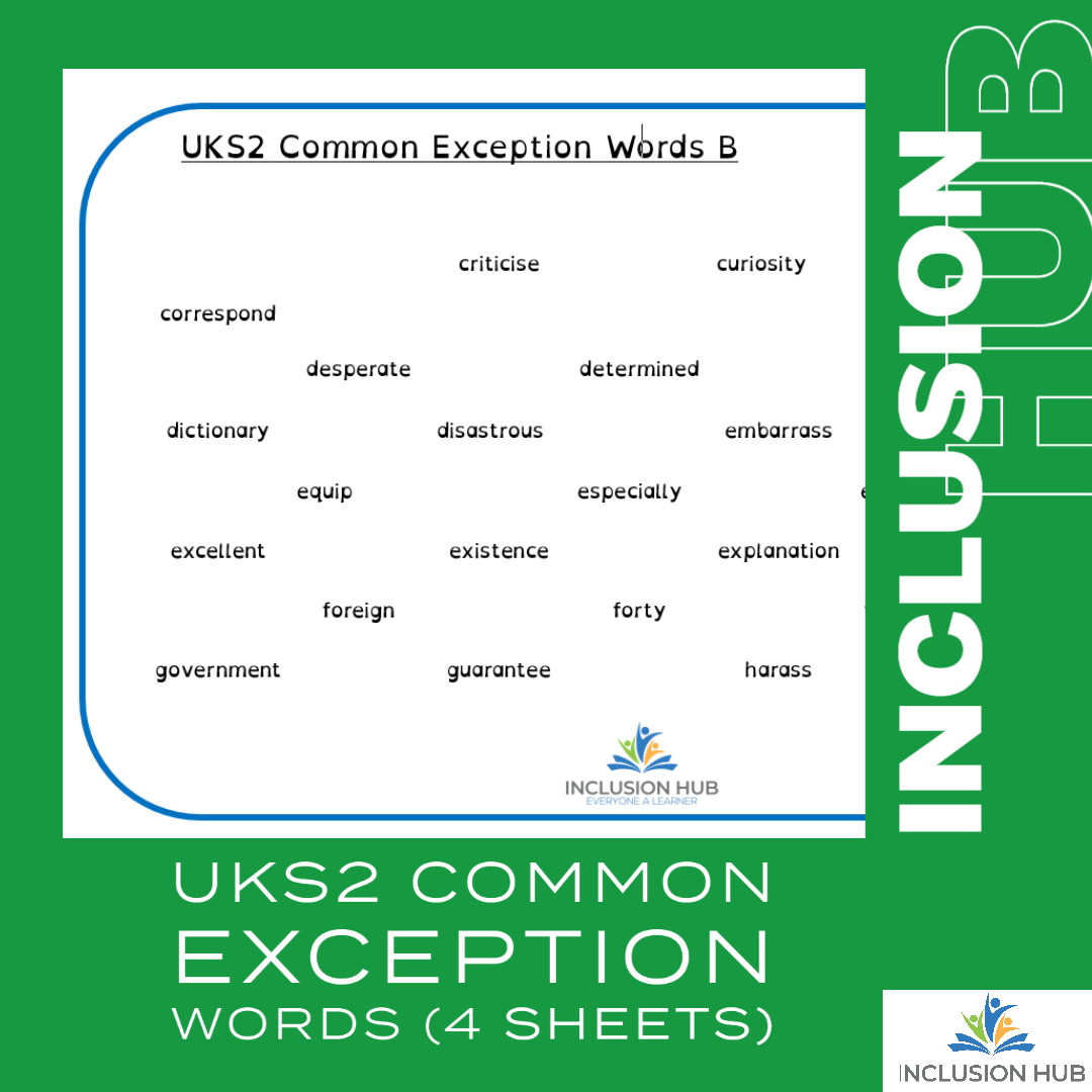UKS2 Common Exception Words (4 sheets)