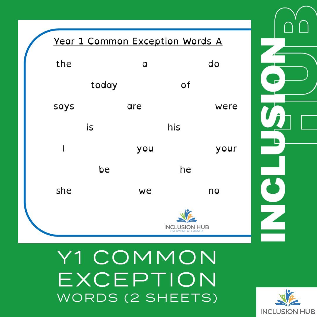 Y1 Common Exception Words (4 sheets)