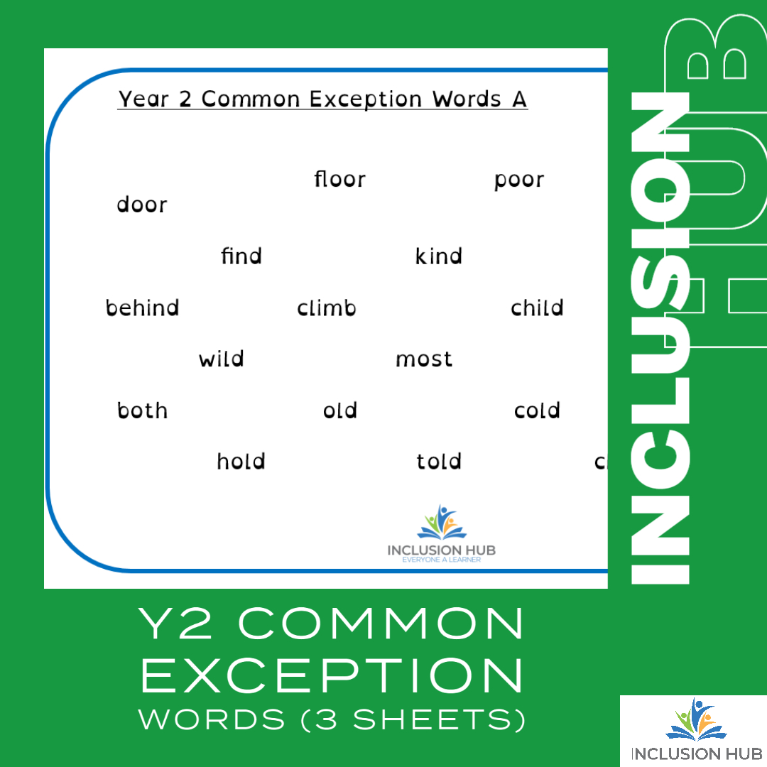 Y2 Common Exception Words (4 sheets)